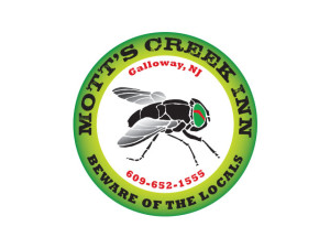 Mott's Creek Inn logo. Greenhead flies are mascot of this waterfront bar in NJ.
