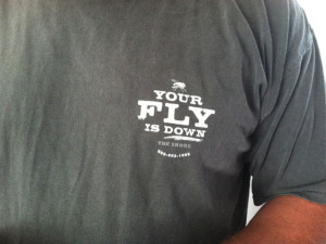 Mott's Creek Inn Tee: Your Fly is Down the Shore log