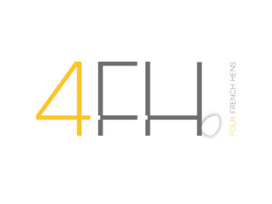 Four French Hens logo. A consulting firm who used a personal aspect in the design: her four daughters