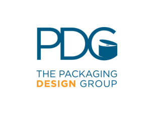 "Packaging Design Group logo. The cap in the ""G"" reflects a custom innovation."